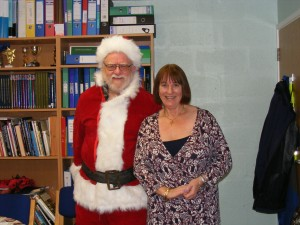 SNP Candidate for Shetland, Santa Danus Skene at Mossbank PrimaryNursery School with Heidie Pat Brown